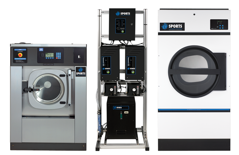 Sports Laundry Systems Equipment including a Washer-extractor, an Ozone Tower and a Drying tumbler